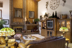 A well-decorated, contemporary, cozy looking living room